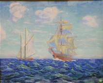 John C Pierson 20th C oil on board sailing ship