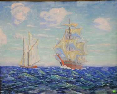 John C. Pierson (20th C.), oil on board, sailing ship