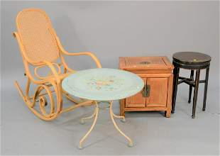 Fourpiece lot to include caned rocker painted table