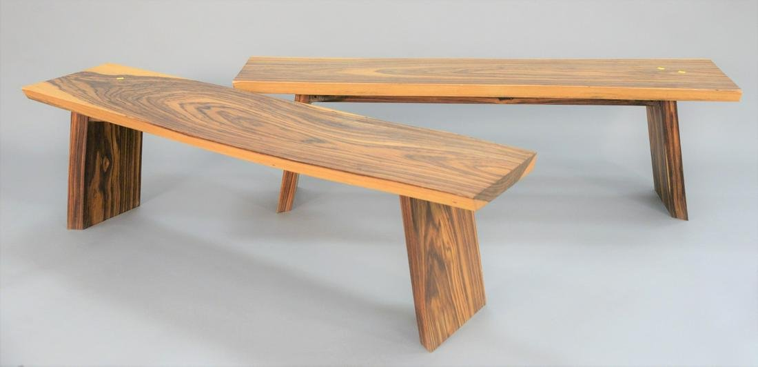 Pair of exotic free-edge wood slab benches, in the