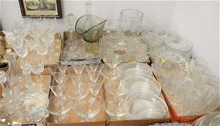 Eight tray lots of assorted glass to include Tiffany