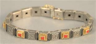 """Konstantino 18K, sterling and coral bracelet, lg. 7"""""""