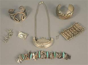 Group of sterling jewelry to include Georg Jensen pin,