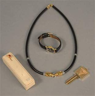 Four piece lot to include necklace with 18K gold ends,