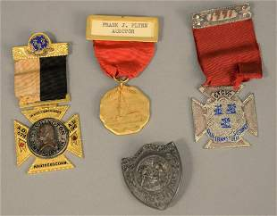 Four Connecticut medals three with ribbon