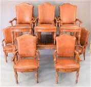 Hickory eleven piece dining set to include ten leather