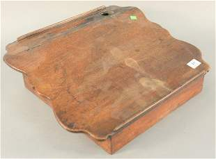 Walnut lap desk with shaped top and inkwell 18th19th