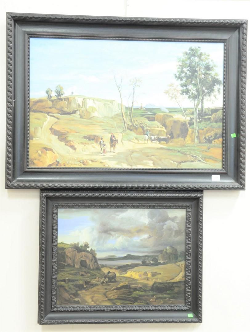 Two large contemporary (20th century) oil on canvas,