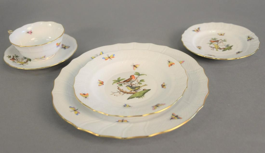 Forty piece Herend Rothschild Bird porcelain dinnerware