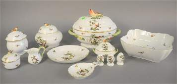 Twelve piece Herend Rothschild Bird pattern porcelain