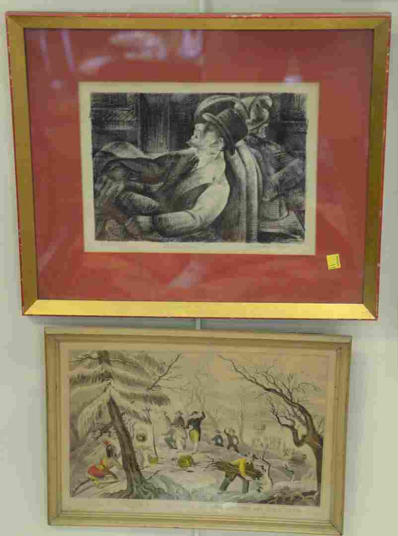 Six framed pieces to include two bullfighting etchings
