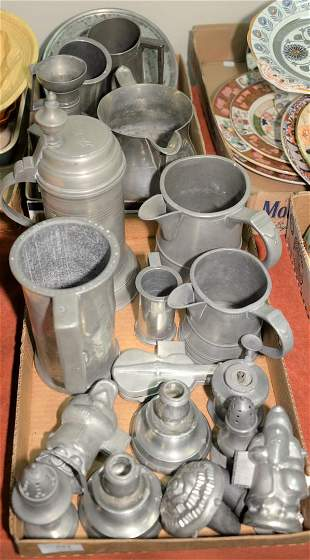 Two tray lots of pewter to include ice cream molds