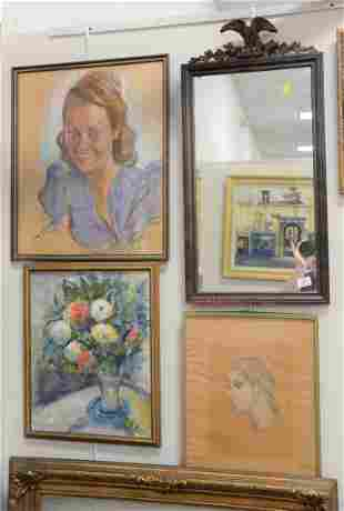 Five piece group to include portrait of a girl signed