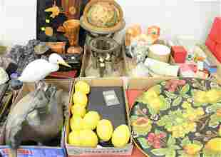Six tray lots of assorted items to include globe decoy