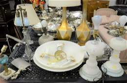 Twelve piece lighting group to include gas oil lamps