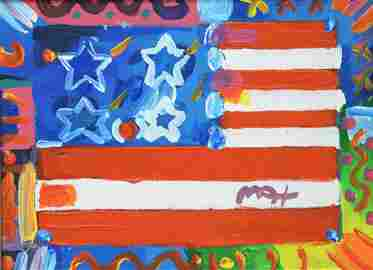 Peter Max (American, b.1937) American Flag with Heart,