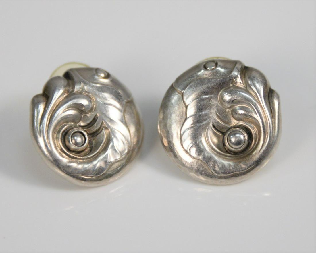 Pair Georg Jensen sterling silver earrings, fish motif,