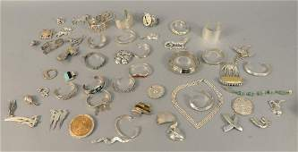 Large group of sterling silver jewelry to include