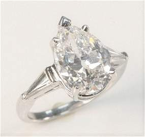Platinum and Diamond Ring Set with 5.5 Carat Pear
