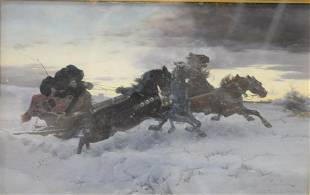 "Ksawery Szykier ""Horses pulling sleigh in the Snow"""