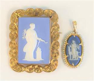 Two Wedgwood and Gold Medallions the larger signed
