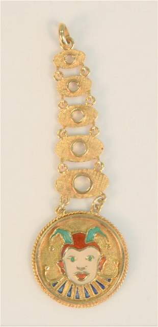 14 Karat Gold Pendant in six parts with enameled jester