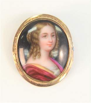 14 Karat Framed Brooch with painting on porcelain of a