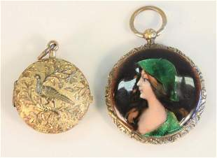 2 piece lot 14K gold and enameled locket with hinged