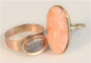 Three Victorian Rings to include; one 14 karat cameo of