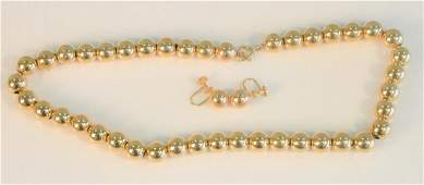 Three piece lot to include 14K gold bead necklace and