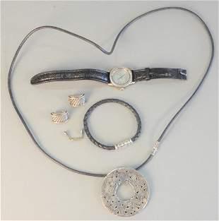 Four piece silver lot to include John Hardy wristwatch;