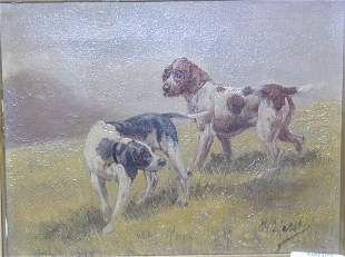 British School (19th Century) two setters oil on canvas