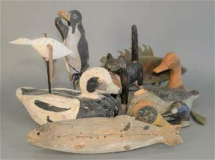 Group of Carved Wood Decoys to include; two large fish,
