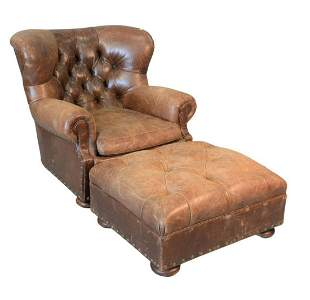 Ralph Lauren Easy Chair and Ottoman brown leather