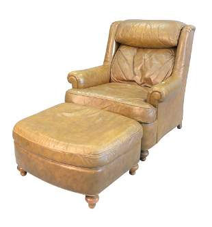 Heritage Leather Easy Chair and Ottoman height 35