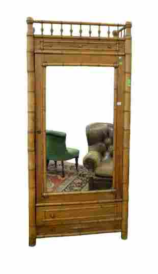 Faux Bamboo Armoire  with mirrored door height 83