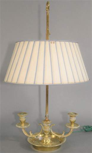 Brass Two-Light Boudoir Lamp with two candle holders,
