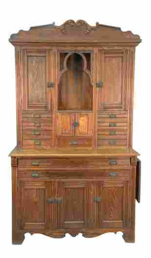 Oak Victorian Two Part Cabinet height 93 inches, width