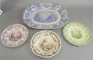 Group of Staffordshire Transferware to include a large