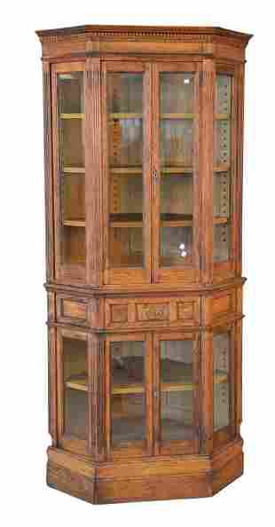 Oak Victorian Two Part Corner Cabinet with adjustable