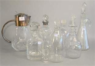 Eight Glass Decanters including two signed 'R Lalique'