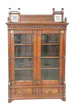 Aesthetic Walnut Bookcase having two inlaid tiles, in