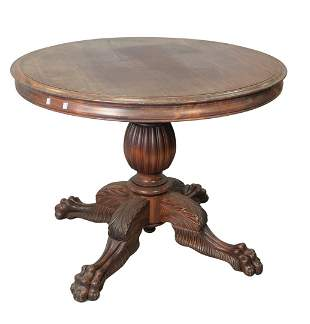 Victorian Style Round Mahogany Center Table with ball