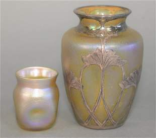 Two Tiffany Art Glass Vases to include silver, floral