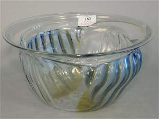 Large Peter Bramhall Glass Bowl with blue and yellow