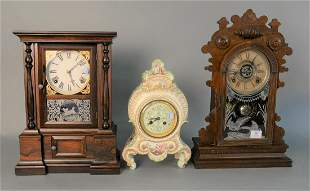 Group of Three Mantle Clocks to include ceramic clock