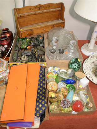 Four Tray Lots  to include glass paperweights; toy