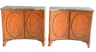 Pair of Marble Top Edwardian Style Two Door Cabinets
