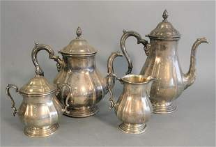 Four Piece Sterling Silver Tea and Coffee Set coffee