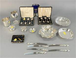 Sterling Silver Lot to include large sugar with cobalt